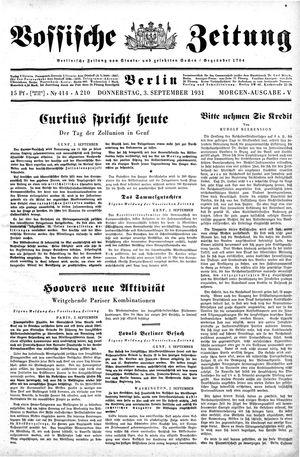 Vossische Zeitung vom 03.09.1931