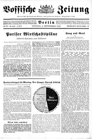 Vossische Zeitung vom 06.09.1931