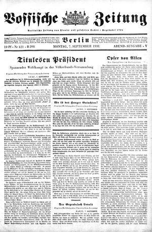 Vossische Zeitung vom 07.09.1931