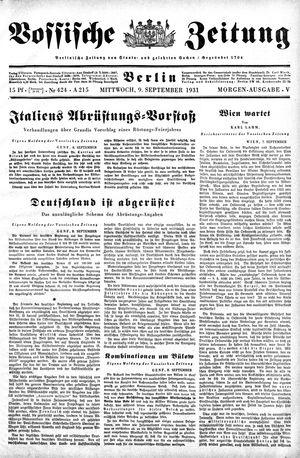 Vossische Zeitung on Sep 9, 1931