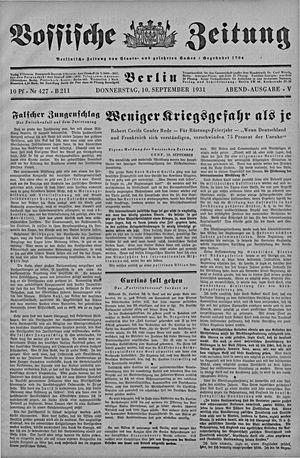 Vossische Zeitung vom 10.09.1931