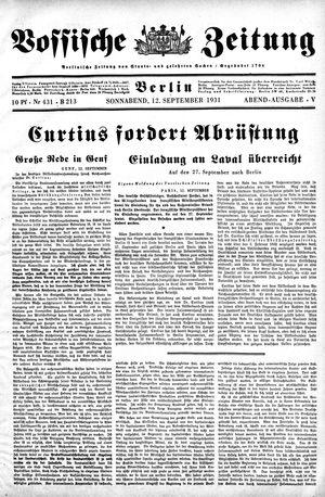 Vossische Zeitung vom 12.09.1931