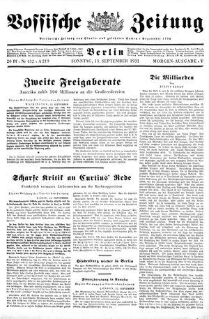 Vossische Zeitung vom 13.09.1931