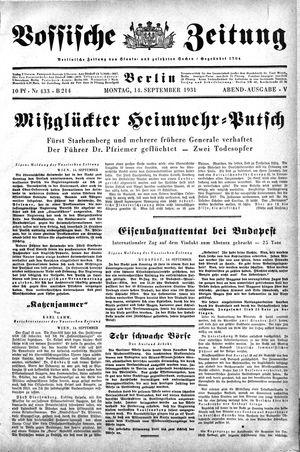 Vossische Zeitung vom 14.09.1931