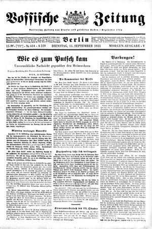 Vossische Zeitung vom 15.09.1931