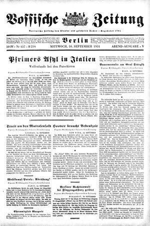Vossische Zeitung vom 16.09.1931