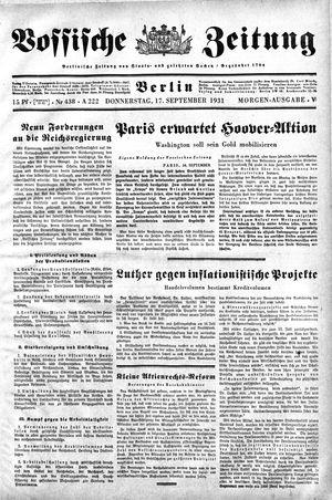 Vossische Zeitung vom 17.09.1931