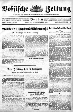 Vossische Zeitung vom 18.09.1931