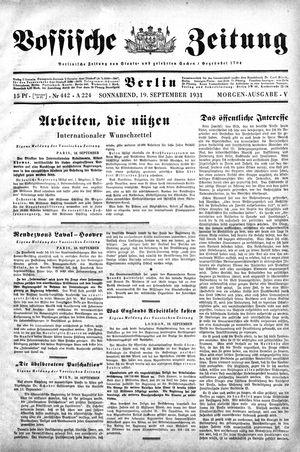 Vossische Zeitung vom 19.09.1931