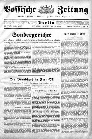 Vossische Zeitung on Sep 20, 1931