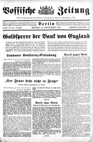Vossische Zeitung vom 21.09.1931