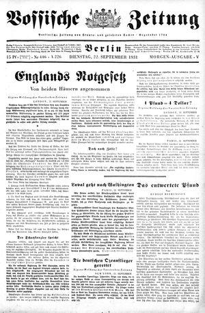 Vossische Zeitung vom 22.09.1931
