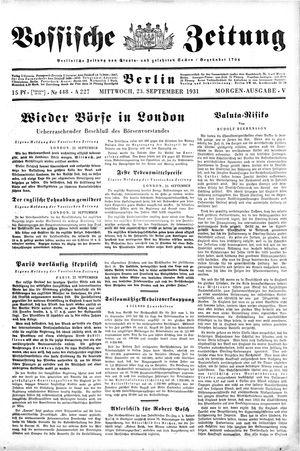 Vossische Zeitung vom 23.09.1931