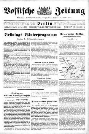 Vossische Zeitung on Sep 24, 1931