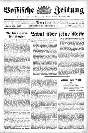 Vossische Zeitung on Sep 26, 1931