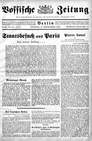 Vossische Zeitung on Sep 27, 1931