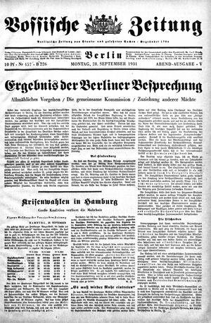 Vossische Zeitung on Sep 28, 1931