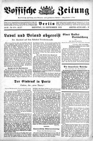 Vossische Zeitung vom 29.09.1931