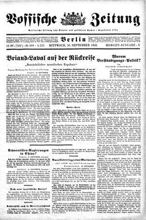 Vossische Zeitung vom 30.09.1931