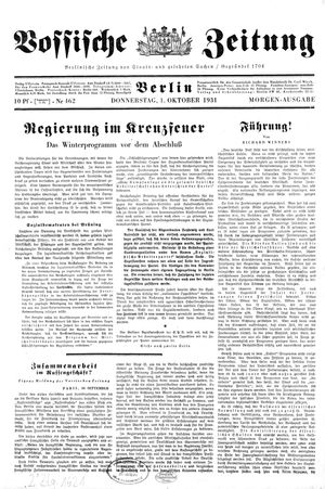 Vossische Zeitung vom 01.10.1931