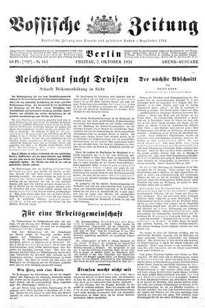 Vossische Zeitung vom 02.10.1931