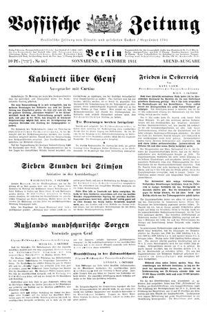 Vossische Zeitung vom 03.10.1931