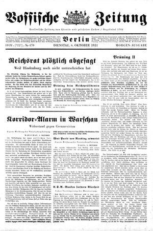 Vossische Zeitung vom 06.10.1931