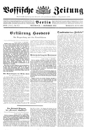 Vossische Zeitung vom 07.10.1931