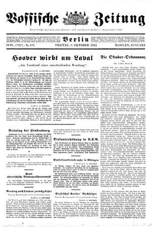 Vossische Zeitung vom 09.10.1931