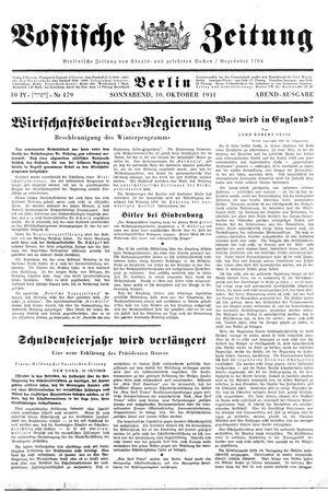 Vossische Zeitung vom 10.10.1931