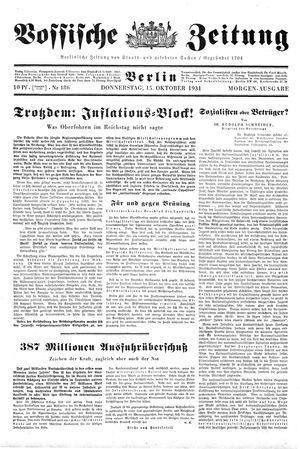 Vossische Zeitung vom 15.10.1931