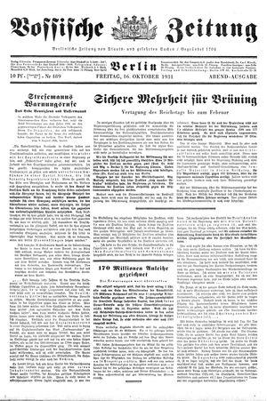 Vossische Zeitung vom 16.10.1931