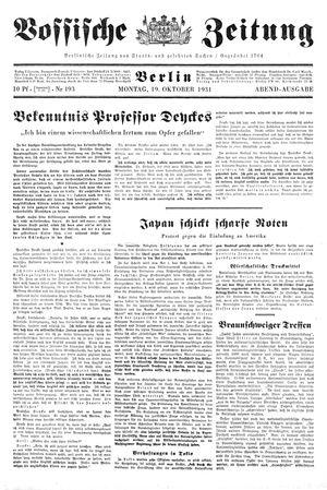 Vossische Zeitung vom 19.10.1931