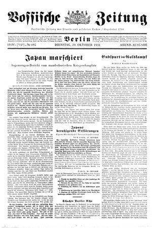 Vossische Zeitung vom 20.10.1931