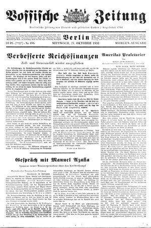 Vossische Zeitung on Oct 21, 1931