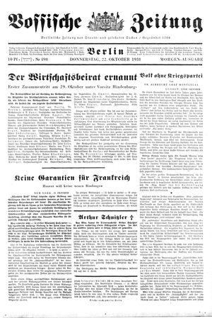 Vossische Zeitung on Oct 22, 1931