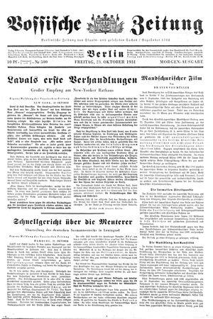 Vossische Zeitung vom 23.10.1931