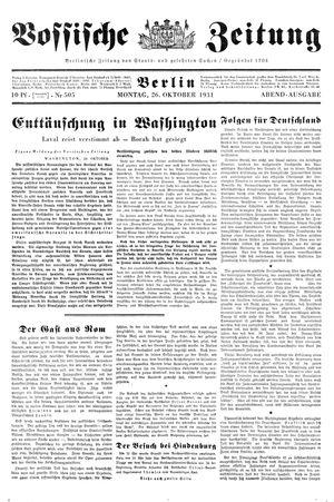 Vossische Zeitung vom 26.10.1931