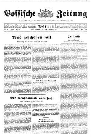 Vossische Zeitung vom 27.10.1931