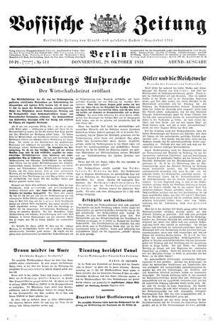 Vossische Zeitung vom 29.10.1931