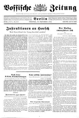 Vossische Zeitung vom 30.10.1931