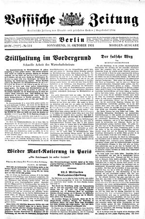 Vossische Zeitung vom 31.10.1931