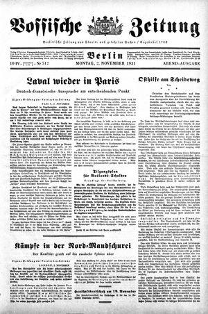Vossische Zeitung on Nov 2, 1931