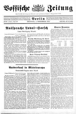 Vossische Zeitung vom 03.11.1931
