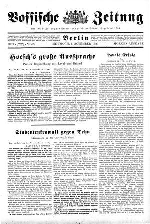 Vossische Zeitung vom 04.11.1931
