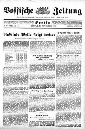 Vossische Zeitung on Nov 16, 1931