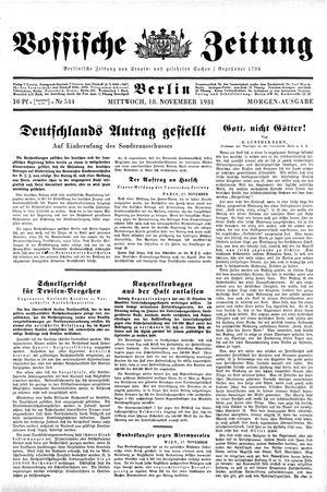 Vossische Zeitung vom 18.11.1931