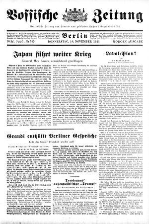 Vossische Zeitung vom 19.11.1931