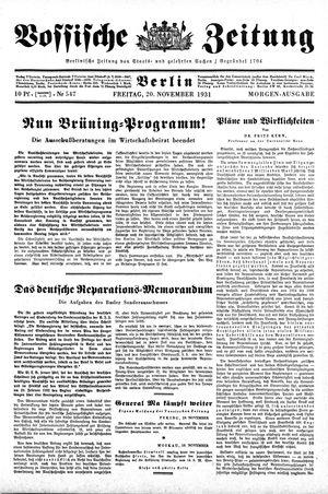 Vossische Zeitung on Nov 20, 1931