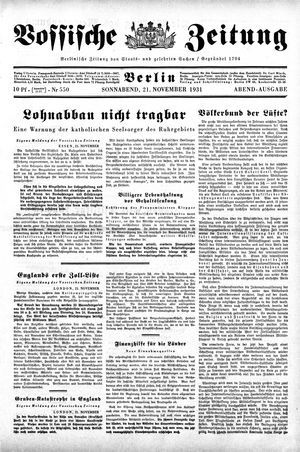 Vossische Zeitung vom 21.11.1931